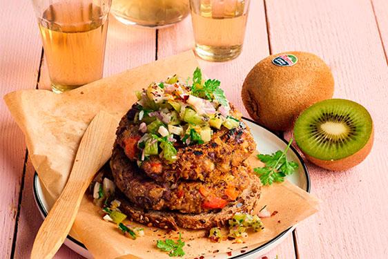 Burger di Borlotti con salsa al Kiwi