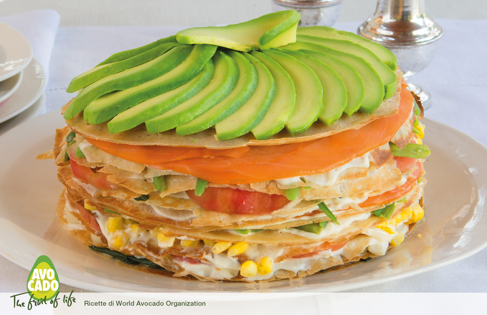 Torta mille crepes con Avocado